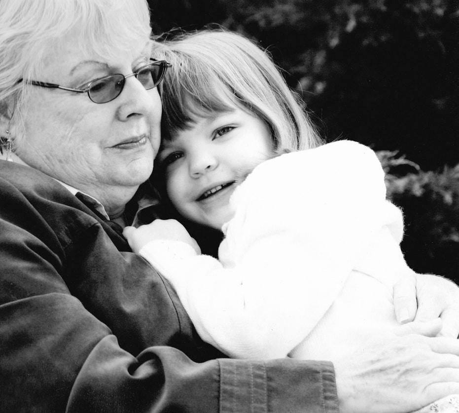 Nana and Tristin cuddle, 2007